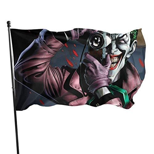 BHGYT Villain Joker Zähne Kamera Comics Flagge 3x5 FtDecorative Outdoors Anti UV Fading Indoor Flags Saisonale und Holiday Yard Flag Banner Polyester 3x5 Fuß