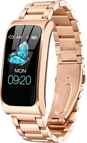 Reloj de fitness dorado con GPS, resistente al agua IP68, pulsómetro, podómetro, contador de calorías, reloj deportivo para hombre y mujer, acero inoxidable, dorado,