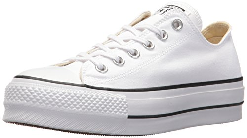 Converse Chuck Taylor CTAS Lift Ox Canvas, Zapatillas para Mujer, Blanco Black/White 102, 37 EU