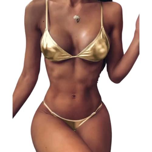 Bikini Oro - Bikini De Tirantes Set - Bañadores Mujeres - Bikini Mujer - Bañadores De Mujer - Bikinis Chica - Trajes de Baño Mujer - Bikinis Sexy - Bikini Alto - Biquini Niña - Oro