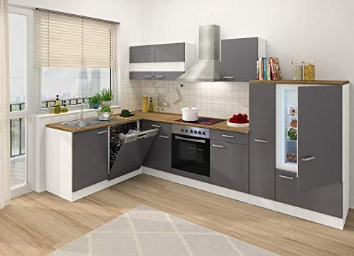 respekta Winkelküche Küchenzeile L-Form Küche Einbauküche grau 310 x 172 cm