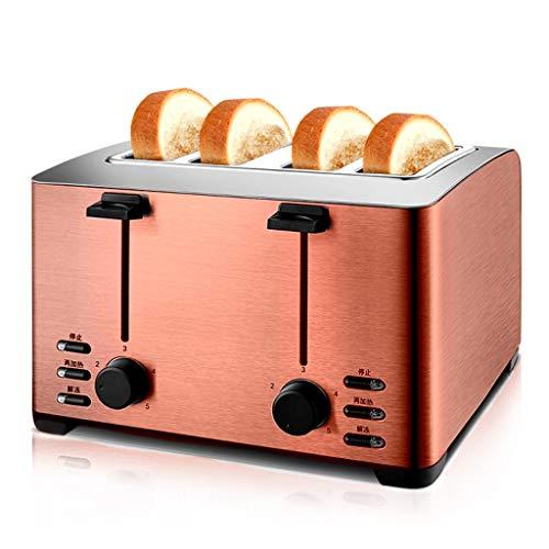 HLDBW 4 rebanadas Tostadora Extra Anchas Ranuras de Acero Inoxidable panificadora automática Cocina Desayuno Pan Bagel compactos de Sombra tostadoras de Pan 5 Ajustes-1260W (Color : Bronze)