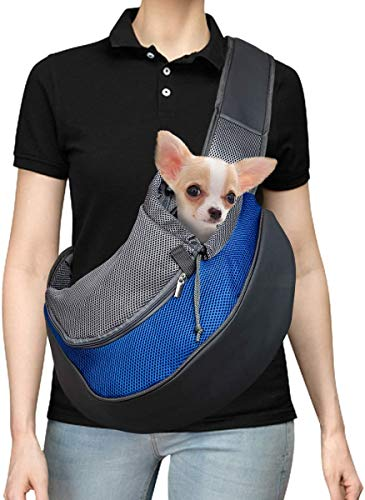 Pet Carrier Hand Free Sling Puppy Carry Bag Small Dog Cat Traverl Carrier with Breathable Mesh Pouch for Outdoor Travel Walking , Pet Supplies (blue) 1