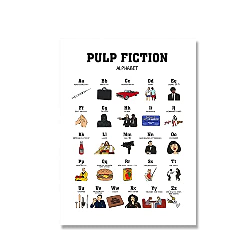 Wsxyhn ABC Alphabet Poster Print Pulp Fiction Posters Actriz Vintage Arte de la Pared Pintura en Lienzo Cuadros de Pared nórdicos para decoración de dormitorio-50x70cmx1pcs - Sin Marco