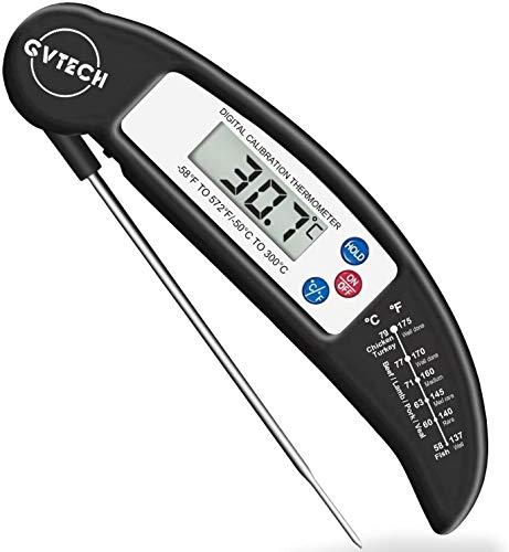 食品温度計、デジタルインスタント読み取り肉温度計、°F /°Cの折りたたみ式ロングプローブ食品調理温度計、自動オン/オフ、キッチンスモーカーグリルバーベキューウォーターミルクジャムホットビバレッジに最適
