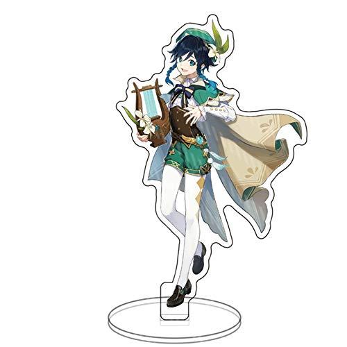xinchangda Anime Ornaments Genshin Impact Traveler Lumine Callitris Endlicheri Mandrill Acrílico Stand Up Carácter Doble Cara Transparente Decoración de Escritorio 15cm