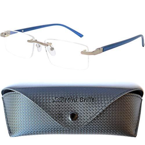 Randlose Lesebrille mit rechteckigen Gläsern - mit GRATIS Brillenetui, Edelstahl Rahmen (Blau), Lesehilfe Herren und Damen +1.5 Dioptrien