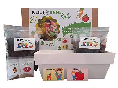 KULTIVERI Set de Cultivo de Tomates y Zanahorias para Niños: Mi Primer Huerto Urbano en Casa niños.