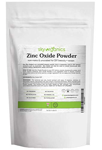 Zinc Oxide Powder by Sky Organics (16 oz) Uncoated Non-Nano Zinc Oxide Mineral Powder 100% Pure Zinc for DIY Sunscreen Lotions and Creams
