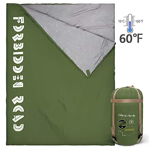 Forbidden Road Double Sleeping Bag 3 Season 15-Degree Waterproof Lightweight 2 Person Envelope Sleeping Bags with Free Carrying Bag Perfect for Spring Summer Fall Camping Backpacking Hiking Travel