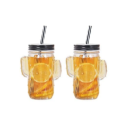 AOTEMAN Botella de vidrio transparente de 2 piezas con tapa, taza de cactus, botella de vidrio personalizada, botella de jugo, botella de leche de vidrio (2 unidades, 350 ml)