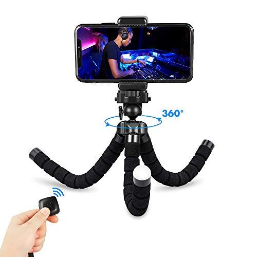 Fotopro Handy Stativ Flexibel iPhone Stativ Kamera Stativ mit Bluetooth Fernsteuerung, Mini iPhone Stativ für Smartphone iPad Kamera Gopro Selfie Stick Stativ
