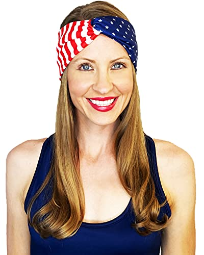 Shimmer Anna Shine Red White and Blue Patriotic American Flag Headband USA (Cotton Stars and Stripes)