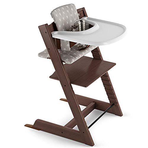 Stokke Beech Wood Adjustable Ergonomic Tripp Trapp High Chair Complete (Walnut Brown/Grey Star Cushion)