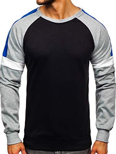 BOLF Herren Sweatshirt ohne Kapuze Basic Rundhalsausschnitt Bündchen Sportlicher Stil J.Style JZ11038 Schwarz-Seladongrün XL [1A1]