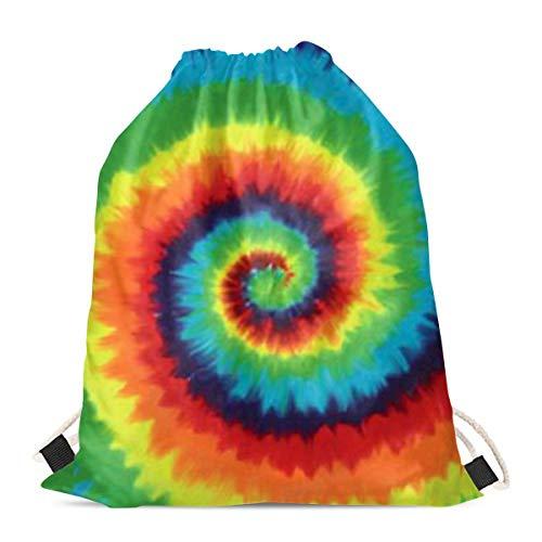 chaqlin Bolsas de cordón para niños y niñas 3D, con patrón de teñido anudado, para gimnasio, viajes, natación, mochila