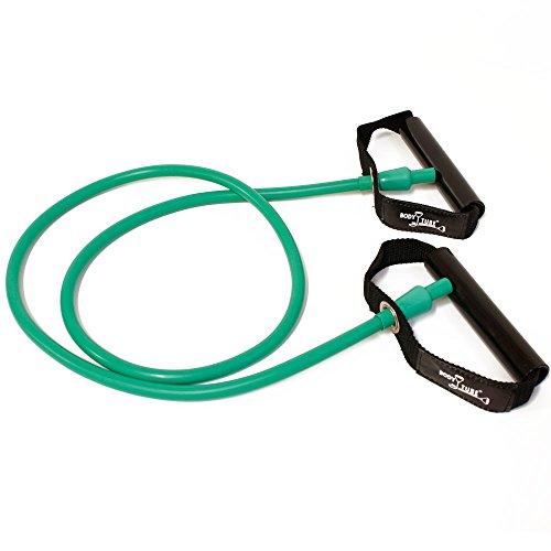 FTM Dittmann Body Tubes mit Standardgriffen inkl Übungsflyer, für Muskelaufbau, Krafttraining und Fitness zu Hause. Optimaler Expander für Gummiband Sport, Trainingsgerät (Grün - mittel)