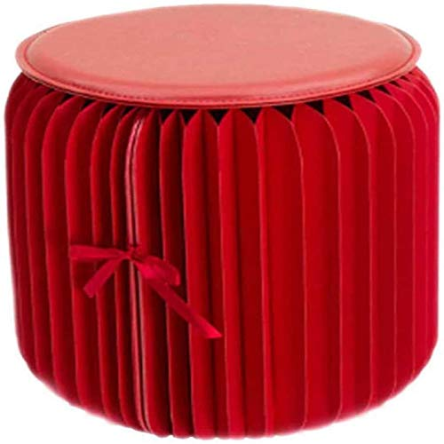 MGE Ottomans Taburete De Pie Plegable Y Redondo, Taburete De Reposapiés Decorativo Resistente para Exteriores, Taburete para Sofá, Mesa De Centro, Taburete para Sala De Estar(Color:Rojo)