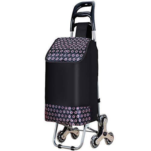 LXCS Portable Domestica Trolley, Pieghevole supermercato Carrello, Fare la Spesa rimorchio, Arrampicata Trolley Carrier (Color : Floral)