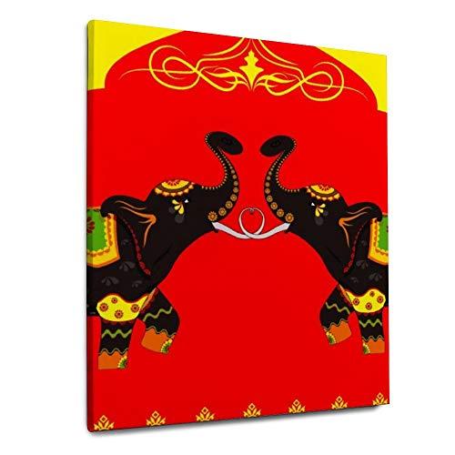 YATELI Patrón de Elefante Sagrado Indio 1 Panel 20x24 Pulgadas Papel de decoración de Pared para Sala de Estar decoración de Oficina en casa Giclée Listo para Colgar lienzos