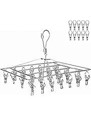 LEEPWEI ピンチハンガー 洗濯 物干し ハンガー ステンレス 36ピンチ 折りたたみ式 収納便利 頑丈 プレゼント (10個予備ピンチ付)