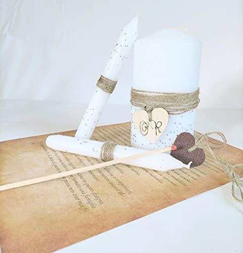 Kit set rito della luce matrimonio set di tre candele decorate a mano per cerimonia con strass, compreso di rito lettura e un cuore di legno personalizzabile con iniziali sposi, un fiammifero.