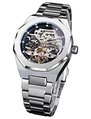 Forsining Montre-bracelet mécanique automatique de luxe en forme de tourbillon de diamant pour homme en acier inoxydable argenté