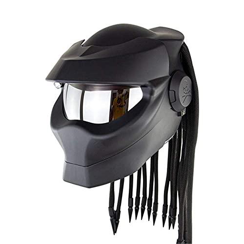 DXMRWJ Casco Predator, Casco de Motocicleta para Descubrir Motocicleta, Aprobado, Trenza de Pelo, Casco de Motocross Integral de Cara Abierta, LED -Brillante, D, L