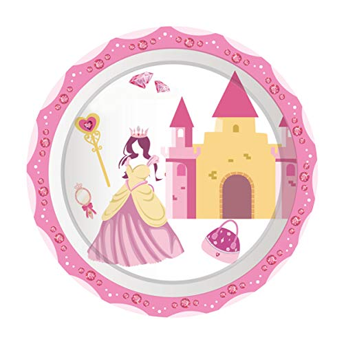 For Sale! Cieovo 24 Count Disposable Plates Princess Castle Party Paper Plates Dinner Dessert Plates...