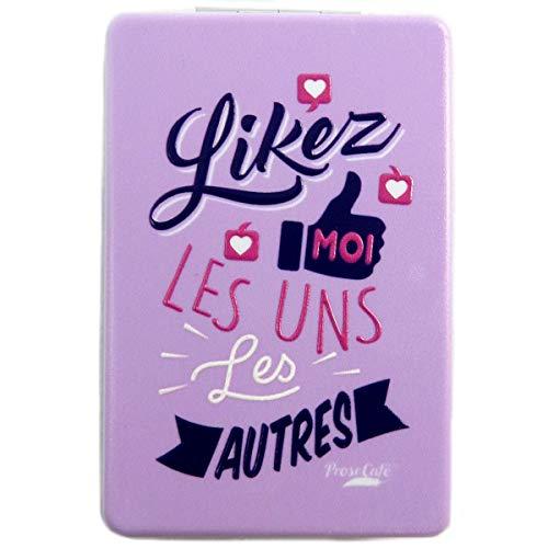 Les Trésors De Lily [Q2827] - Miroir de poche 'Messages' mauve (Likez moi les uns les autres) - 8.5x5.5 cm