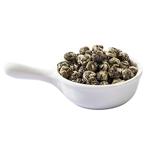 Jasmine Green Tea with Premium Dragon Pearls, Hand-Rolled Fresh Pearls Loose Leaf Tea with Food-Grade Resealable Bag, 114g/4oz