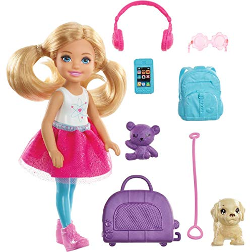 Barbie Chelsea Travel Doll, Blonde, with Puppy, Carrier \& Accessories, for 3 to 7 Year Olds