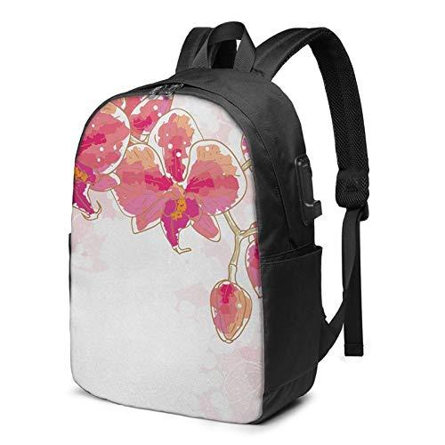 WEQDUJG Mochila Portatil 17 Pulgadas Mochila Hombre Mujer con Puerto USB, Ramo de Flores Tropic Bride Mochila para El Laptop para Ordenador del Trabajo Viaje