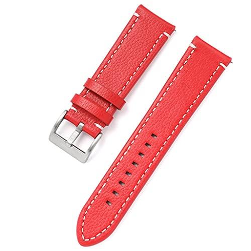 SSMDYLYM Cuero de Doble Cara 18 mm 20 mm 22 mm 24 mm Correa de Reloj Correa de Reloj de liberación rápida Hombres Mujeres Amarillo Rojo Negro Accesorios de Reloj (Color : Red, Size : 20mm)
