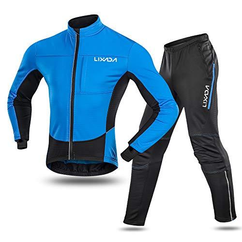 Lixada Herren Fahrradanzug Wasserdicht Thermo Fleece Winddicht Winter Radfahren Sportjacke + Hose für Radfahren Reiten Laufen