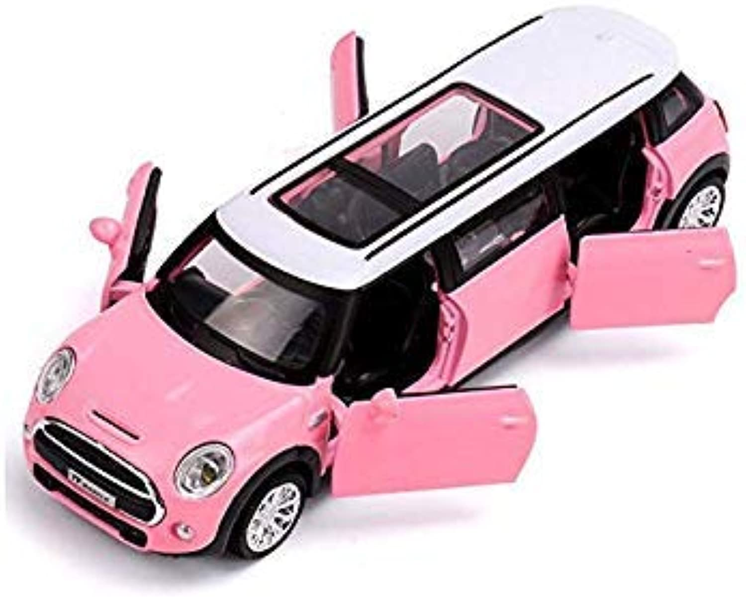 Diecast Toy Model 1 36 Scale Mini Cooper Car Pull Back Sound & Light Car Educational Collection Gift Pink