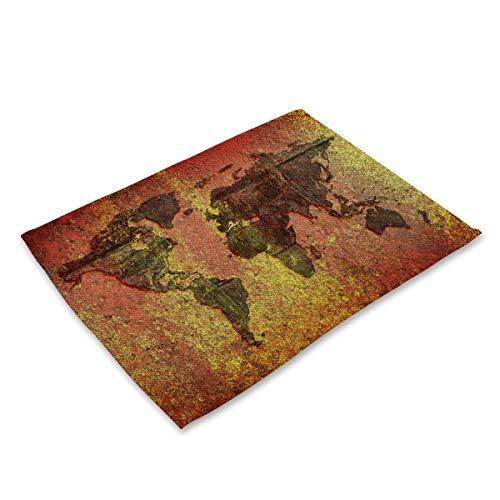 Carte rétro moderne du monde résistant à la chaleur Art de la table Tapis Taches Table Mat Accueil Linge de cuisine rectangulaire Décoration napperon (Couleur : Map 5, Shape Style : 42x32cm)