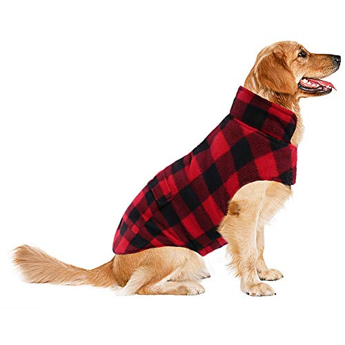 ASENKU Dog Winter Coat, Dog Fleece Jacket Plaid Reversible Dog Vest Waterproof Windproof Cold Weather Dog Clothes Pet Apparel for Small Medium Large Dogs Red L