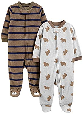 Simple Joys by Carter's Boys' 2-Pack Fleece Footed Sleep and Play, Brown Bear/Brown Stripes, 0-3 Months