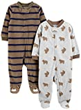 Simple Joys by Carter's Baby Jungen 2er-Pack Fleece mit Füßen Schlafen und Spielen ,Brown Bear/Brown Stripes ,Preemie