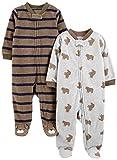 Simple Joys by Carter's Paquete de 2 pieles de forro polar para dormir y jugar ,Brown Bear/Brown Stripes ,Recién nacido