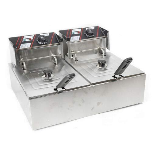 Kommerzielle Fritteuse 12L Elektrische Friteuse 5000W Doppelkorb Elektrische Doppeltank-Arbeitsplatte Edelstahl Pommes Frites für Restaurants Gewerbliche Zwecke