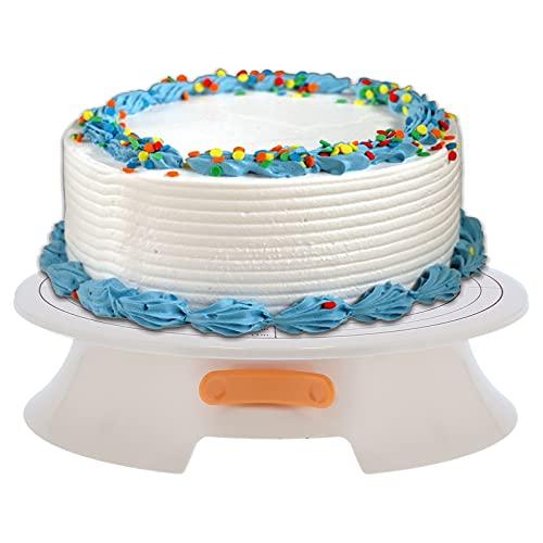 Plato giratorio para tartas, herramientas para hornear con base para tartas, soporte antideslizante para decoración de tartas, duradero con escala para el hogar