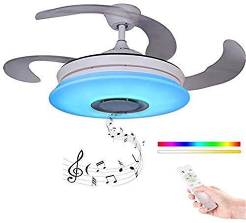 Ventilador de techo con luz LED y mando Las cuchillas retráctiles modernas remoto Smartphone APP regulable 36W Altavoz Bluetooth ajustar el color RGB de la música, las luces de la lámpara plegable [Cl