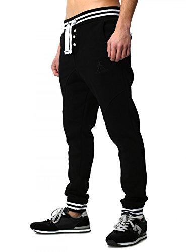 Akito Tanaka Herren Baggy Freizeithose Sporthose Sweatpants Jogginghose Trainingshose Stripe tief sitzend Drop Crotch Low, Grösse:L;Farbe:Schwarz