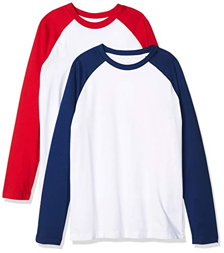 Amazon Essentials Kids Boys Long-Sleeve Raglan Baseball T-Shirts, 2-Pack Red/Blue, Large