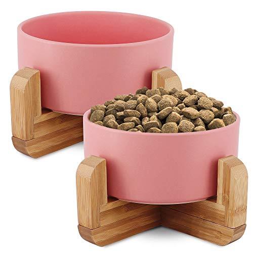 KYONANO - Ciotola per gatti, 2 ciotole per gatti e cani, con supporto in bambù, 850 ml, ciotola rialzata con supporto, set per gatti, ciotola in ceramica per cani e gatti (rosa)