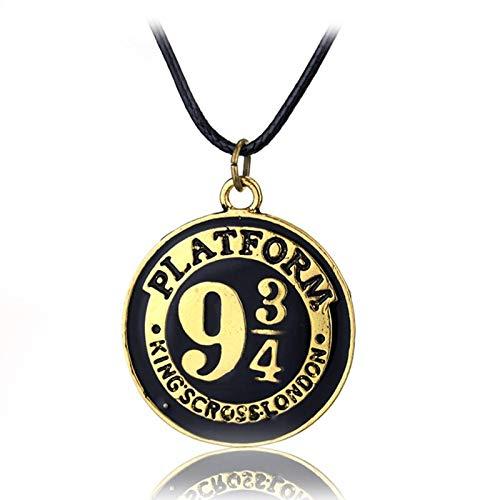 YUNMENG Porter Deathly Hallows Collar Retro Bronce 934 Moneda Colgante Collar Cadena de Cuerda para Mujer Hombre Cos Prop joyería Regalo