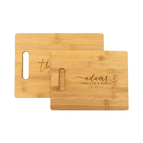 Personalized Bamboo Cutting Board, Wedding Gift, Family Name, Engraved Wood Board 2 Sizes, Anniversary (Bamboo)