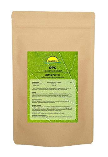 Bonemis Premium OPC Traubenkernextrakt, 95% (63% nach HPLC), 250 g Pulver im Beutel
